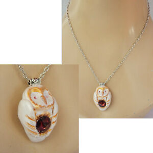 Necklace White Owl Pendant Jewelry Handmade Chain Hand Sculpted Polymer Clay
