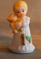 1981 Enesco Growing Up Birthday Girls Porcelain Figurine Age 1 Blonde Hair