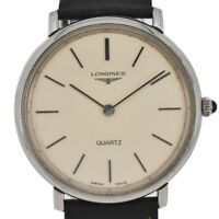 Auth LONGINES Silver Dial Stainless Steel/Leather Quartz Men's Watch Y#C0097