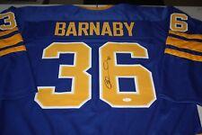 156f12a29 BUFFALO SABRES MATT BARNABY  36 Sewn Stitched Autographed Custom JERSEY JSA  CERT
