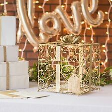 New Large Gold Metal Reception Scrolled Card Holder Box Bow Weddings & Parties