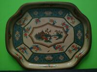 Vintage Baret Ware Hors D'Oeuvre Tray Tin Plate Flowers Asian Made in England