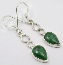 "925 PURE Silver NATURAL GREEN MALACHITE URBAN STYLE Earrings 1.6"" ONLINE BUY"