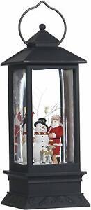 Lighted Snow Globe Lantern: 11 Inch, Black Holiday Water Lantern by RAZ Imports