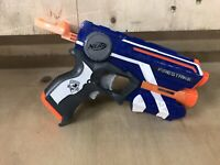 NERF Fire Strike Firestrike Elite with Ammo Blue White Single Shot Blaster
