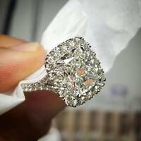 2.70 Ct Natural Radiant Halo Split Shank Pave Diamond Engagement Ring - GIA Cert