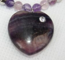 Hand Carved Banded Fluorite Crystal Heart Pendant Necklace, Pink Cord + Beads