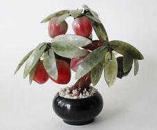 Vintage Asian Chinese Jade Leaf Fruit Apple Peach Tree in Planter Pot B