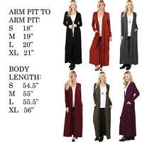 Women's Cardigan Duster Full Length Maxi Sweater Flyaway Open Front Long Sleeve