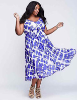 LANE BRYANT Dress Plaid Chiffon Fit & Flare 14 16 18 20 22 Blue/White 1x 2x 3x
