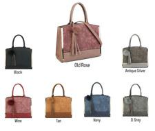 Woman Pom Pom Faux Leather Contrast Stitch Design Ladies Top Handle Tote Handbag