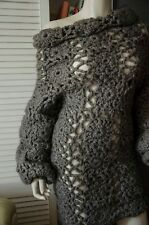 Stefanel Wollkleid Longpullover Knit Grobstrick NP 450 Lammwolle/Alpaka Gr.L