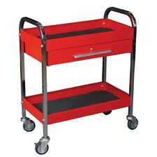 K Tool 75105 Metal Utility Cart, Red, Locking Drawer, 2 Shelves