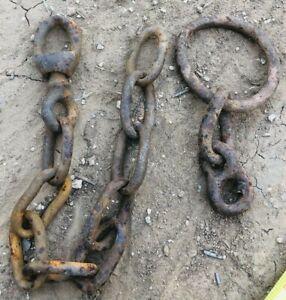 """2 VTG Rusty Farm Chains Steampunk Art Garden Ranch with O Ring, Swivel 15"""", 6"""""""