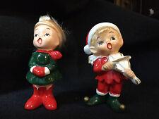 1950's NAPCO UNIQUE PAIR CHRISTMAS CHILDREN CAROLERS WITH BLONDE X7592