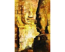 Watercolor painting of Bayon temple at Angkor Wat ruin- Cambodia.  Art giclee