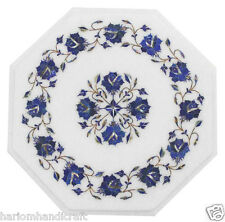 """24""""x24"""" Marble Coffee Table Top Real Lapis Lazuli Mosaic Floral Inlay Arts H1787"""