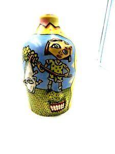 stacy lambert opossum  face jug, pottery, folk art   8.'' x5''