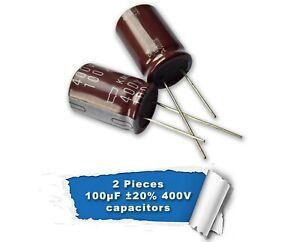 2psc Nippon Chemi-Con 100uF 400V  radial electrolytic capacitor