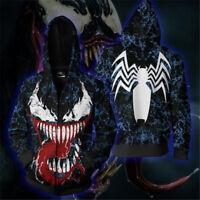2 Color Venom SpiderMan Cosplay Hoodie Full Zip Hooded Sweatshirt Jacket Coat