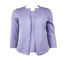 PETITE SOPHISTICATE Silk Stretch Purple Cardigan and Shell 2 Piece Womens Size P