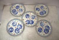 IP23 Japanese Antique Imari Somei Nishiki porcelain 5 plates Arita w/ box