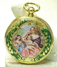 Antique 18ky gold & Enamel Ladies Scenic European Made Pocket Watch Key Wind