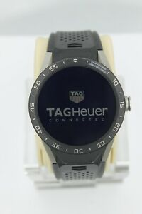 Tag Heuer Connected SAR8A80.FT6045 Smart Watch Mens Black Rubber LCD Digital 46