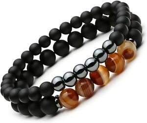 2PCS Black Matte Onyx Prayer Beads Bracelet for Men Women Elastic Natural Stone