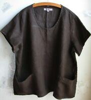 FLAX  Designs  LINEN  Cool  Top  Shirt    2G     NWOT  BROWN