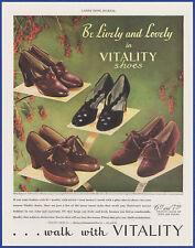 Vintage 1938 VITALITY Shoes Women's Fashion Judy Fleura Ginger Print Ad 1930's