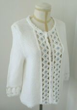 RENA LANGE White Cotton Knit Sweater with Sequin Pattern at the Front - Size XL