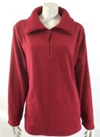 Denim & Co Fleece Sweater Size Large Long Sleeve Pullover Quarter Zip Up Womens