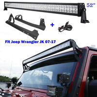 "52"" 700W CREE LED Work Light Bar & Mount Bracket For Jeep Wrangler JK 2007-2017"