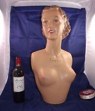 French Champs Elysées Mannequin Head Bust plaster Art Deco mid century lingerie
