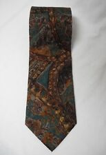Ermenegildo Zegna Silk Neck Tie Abstract Art Brown