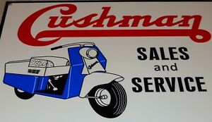 """VINTAGE CUSHMAN SALES AND SERVICE W/ MOTOR SCOOTER 12"""" METAL GASOLINE & OIL SIGN"""