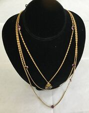 Signed GOLDETTE NY Vintage Gold Tone Layer Necklace Purple Glass Cameo. #B7