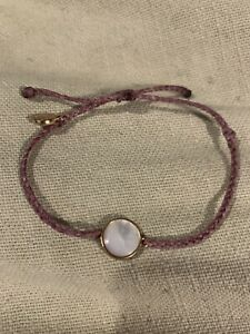 NEW Pura Vida Purple Mini Braided With Gold And White Gemstone