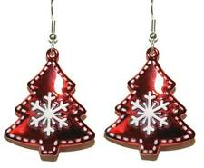 RED & WHITE CHRISTMAS SNOWFLAKE TREE DANGLE EARRINGS (H117)