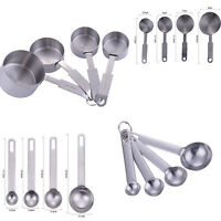 For Baking 8pcs Stainless Steel Measuring Spoons Cups Tablespoon Tool Set