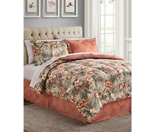 Coral Tropical Palm Hawaiian Beach King Comforter Set (8 Piece Bed In A Bag)
