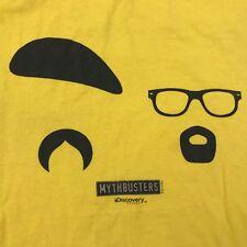 MYTHBUSTERS Medium Yellow T shirt 2010 Discovery Jamie Hyneman Adam Savage