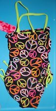 NEW EXHILARATION GIRLS SIZE 6 ONE PIECE BLACK PEACE SIGN SWIMSUIT NWT