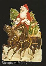 Die Cut Scrap German Embossed - Large Christmas Santa Horse WOW  BK5125