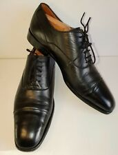 Saville Row Derby Mens Size 9 Narrow Black Leather Shoes inc. Wooden Shoe Trees