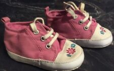 Cute girls baby shoes in PINK sneaker denim effect. Soft fabric shoes 6-9 months