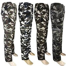 Mens Army Camo Winter Fleece Lined Work Trousers Elasticated Cargo Combat Pants