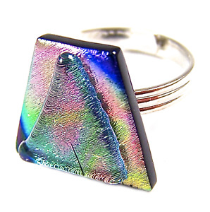 """DICHROIC GLASS RING Silver Adjustable Pink Green Gold Tie Dye Pattern 3/4"""" 20mm"""