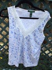 Pretty Lauren By Ralph Lauren Floral Blue White Lace Trim ladies vest Top Size L